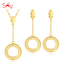 Sunny Jewelry Fashion Jewelry 2019 For Women Necklace Earrings Pendant Statement Luxury Jewelry Sets Round Hollow Star For Party(China)