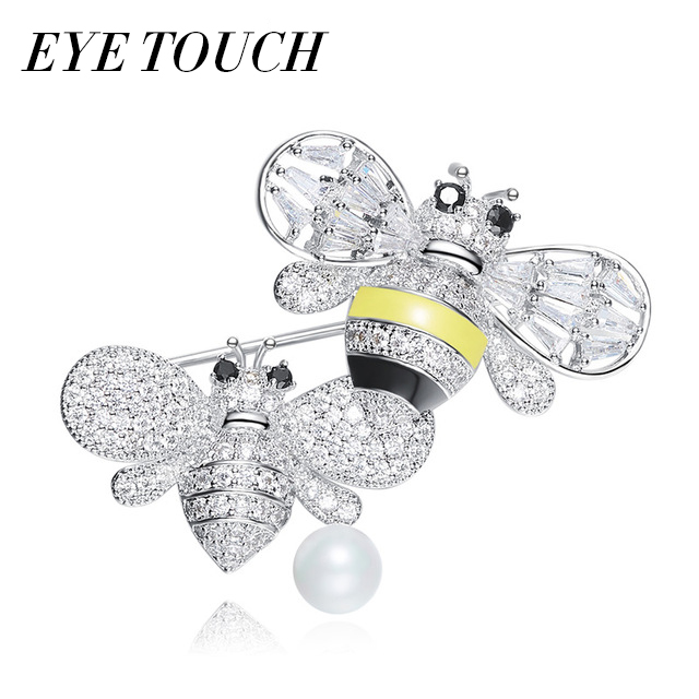 EYE TOUCH Retro Vintage Brooches Women Brooch Austrian Rhinestone Paved Fashion Chic Couple Bee Bijous Classic Pins Party Gifts