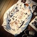 2016 Новый Высокое качество мужская спортивная одежда цветы Печати Пуловер Толстовки Мужчины С Длинным рукавом Мужчины Толстовки