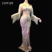 Champagne Gold Rhinestones Fringes Dress Stage Wear Big Stretch Dress Singer Evening Performance Tassel Long Dress