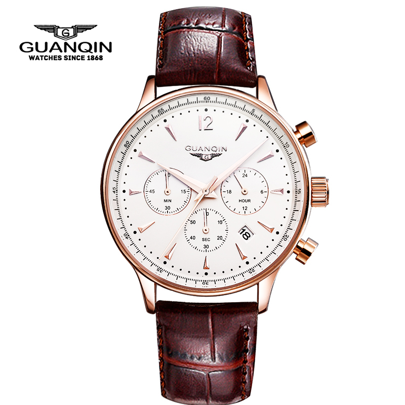 New Fashion Watches Men Luxury Original Brand GUANQIN Men's leather Quartz Watch Waterproof Male Wristwatch relogio masculino watches men luxury top brand guanqin new fashion men s big dial designer quartz watch male wristwatch relogio masculino relojes