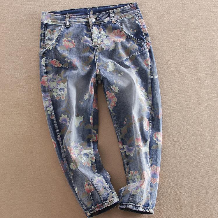 Boyfriend Jeans 2017 New Women Jeans Loose cross Pants flower print Harem capris plus size lole капри lsw1349 lively capris xs blue corn