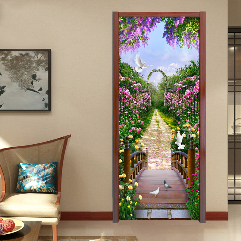 Photo Wallpaper Modern Romantic Pastoral 3D Mural Creative DIY Door Wall Sticker Living Room Bedroom Home Decor PVC Wallpaper 3D custom mural wallpaper creative space forest path 3d wall sticker wallpaper modern living room bedroom door mural pvc home decor
