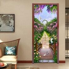 Photo Wallpaper Modern Romantic Pastoral 3D Mural Creative DIY Door Wall Sticker Living Room Bedroom Home Decor PVC Wallpaper 3D