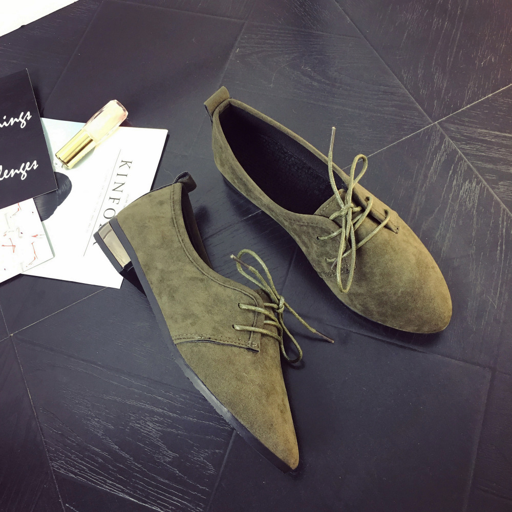 Leather Women Casual Flat Shoes Ladies Lacing Loafers Zapatos Mujer Point Toe Leisure England Solid Shallow Mouth Suede Shoes new shallow slip on women loafers flats round toe fishermen shoes female good leather lazy flat women casual shoes zapatos mujer