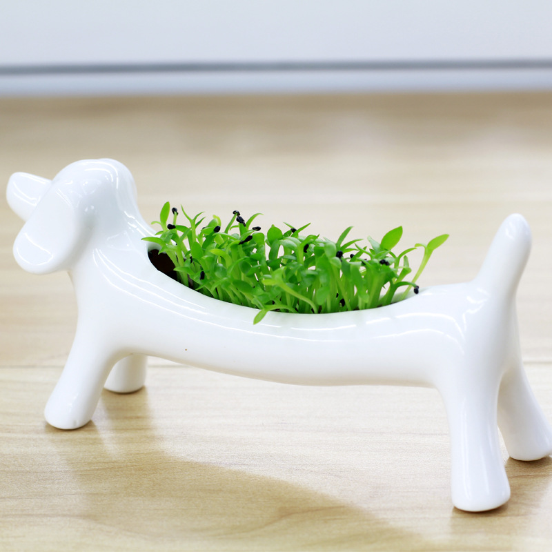 Dog Flower Pots White Ceramic Planters Ornaments Small Potted ...