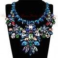 De las mujeres 4 Colores 2015 Flores de Cristal de Joyería Perlas Cadena Ribbon Negro Collar Gargantilla Declaración Geométrica Collar Único