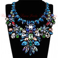 Women 4 Colors 2015 Jewelry Crystal Flower Beads String Black Ribbon Collar Choker Statement Geometric Unique Necklace