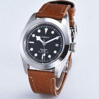 41mm Corgeut Black dial Sapphire Glass miyota Movement Automatic mechanical Men's Watch Leather strap