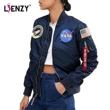 LIENZY NASA Winter Style Cotton Women pilot Jacket Coat American Flag embroidery Fashion Warm Women Coat  Plus Size