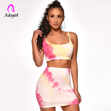 цена на Adogirl 2 Pieces Set Tie-dye Crop Top Summer Sleeveless O-Neck Slim Casual Skirt and Tank Top Women Streetwear Sexy Skirt Set