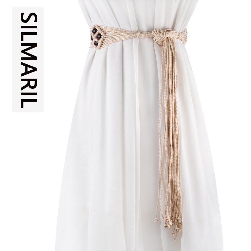 SILMARIL 2018 vintage Bohemian style Braided belts for women knitted Hollow ladies belt wide decoration fashion female dress
