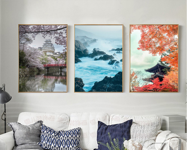 Nordic Small Fresh Sofa, Simple Spray Painting Painted On Canvas 3 Pieces  Landscape Decoration Paintings