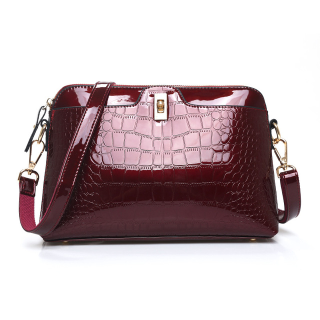 Stylish PU Leather Patent Bags for Women Classic Alligator Pattern Shoulder Bag Fashion Ladies Messenger Bag Woman Leather Bag