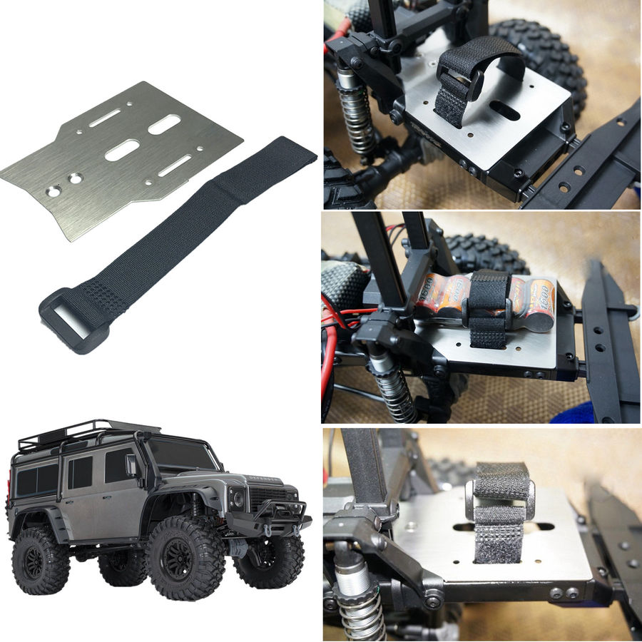 TRX4 Metal Battery Holder Expansion Pate with Tie Down Strap for 1/10 RC Crawler Car TRAXXAS TRX-4 TRX 4
