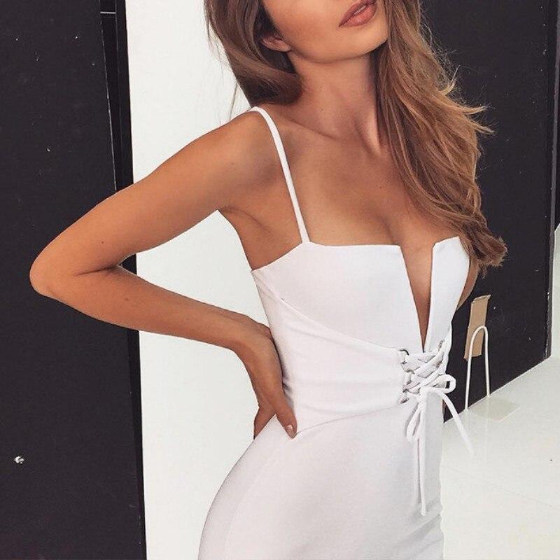 Summer Fashion Bandage Bodycon Dress Deep V Neck Lace Up Midi Halter Sexy Sleeveless Club Party Dresses Vestidos