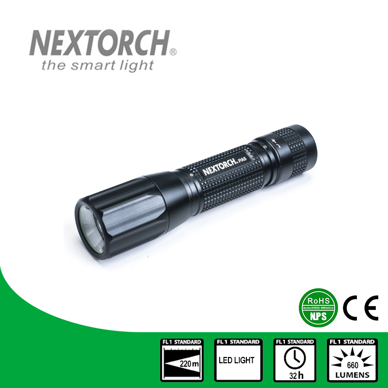 NEXTORCH Flashlight 660 Lumen CE RoHS 18650 Battery Adjustable LED Bulb Fresnel Lens Focus USB Rechargeable Flashlight # PA5 nextorch flashlight ent 4 2 lumen aaa battery penlight for teeth inspection and ent care doctor k3
