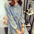2016  Autumn New Korean Style Large Size Long Sleeve Slim Floral A Word Chiffon Dress Waist Bottom Dress