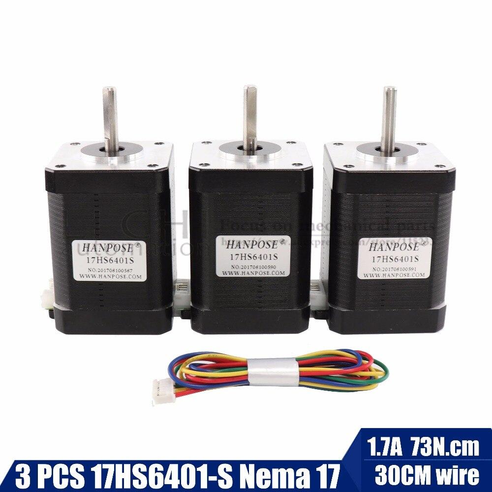 цена на 3pcs/lot 2-phase hybrid stepper motor nema17 motor 60mm (1.7A, 0.73NM, 60mm, 4-wire) nema 17 17HS6401 for 3D printer cnc