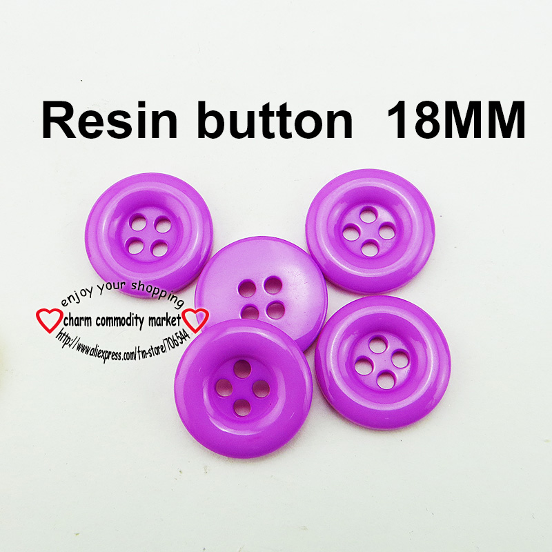 100PCS 18MM purple Dyed RESIN round buttons coat boots sewing clothes accessories 13-260-R