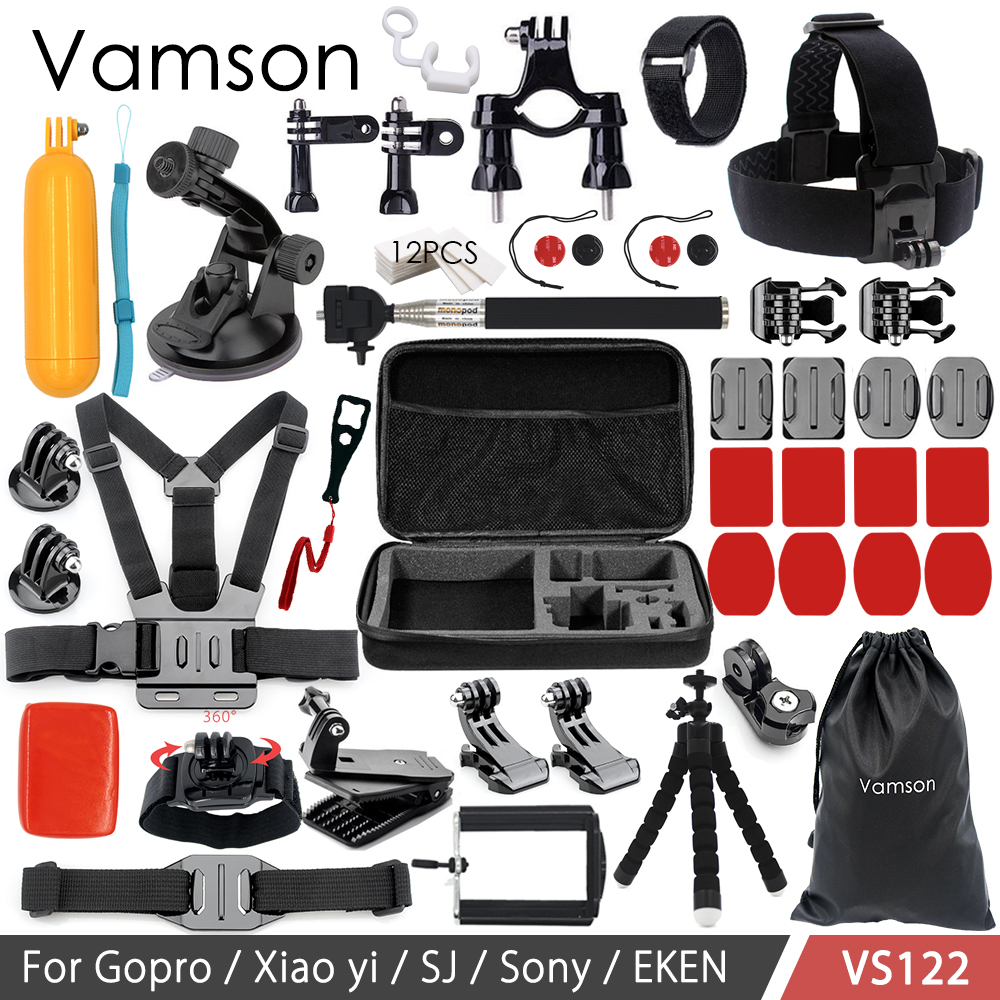 Galleria fotografica Vamson Accessories for GoPro Hero 6 5 4 3+ Set Floating Bobber Collection Box Head Strap Tripod for Xiaomi Yi for SJ4000 VS122