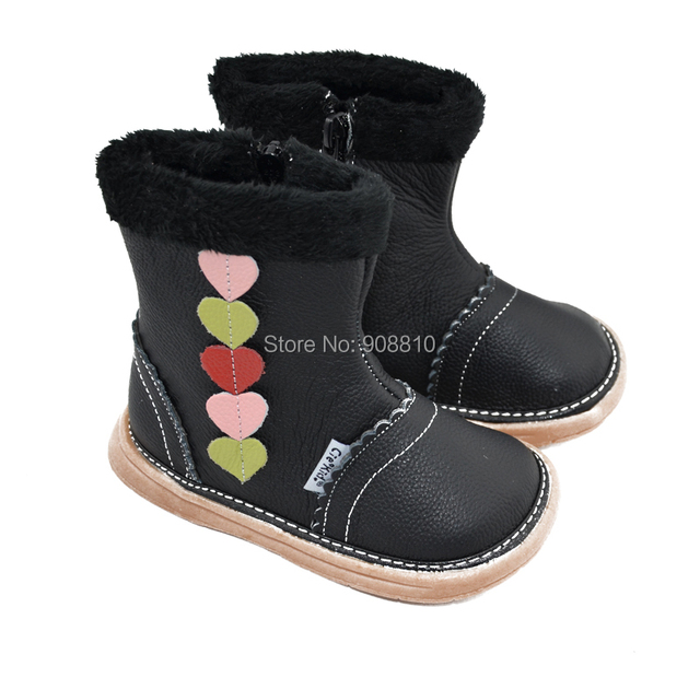 children girls soft leather snow boots with colorful hearts for winter zip closure new arrival free shipping retail wholesale