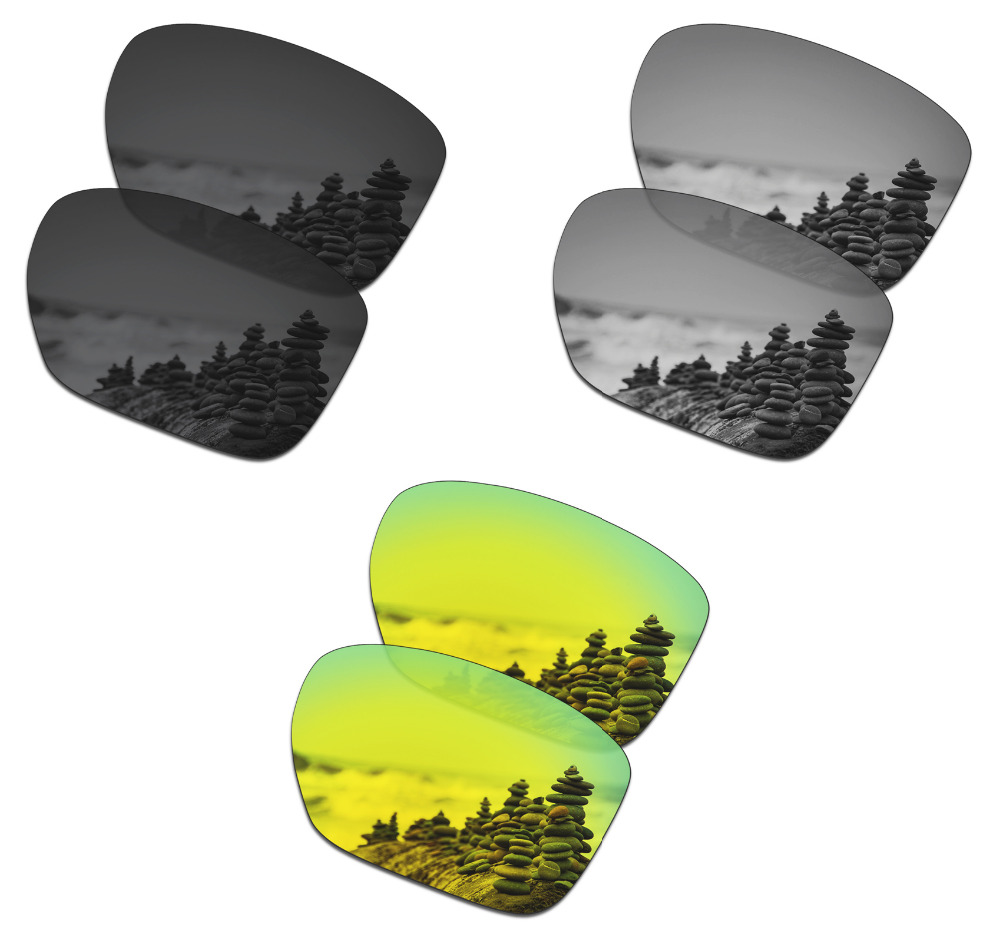 SmartVLT 3 Pairs Polarized Sunglasses Replacement Lenses For Oakley Sliver XL Stealth Black And Silver Titanium And 24K Gold