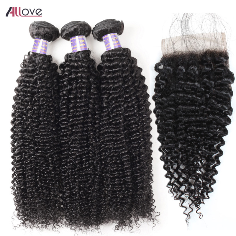Allove Brazilian Curly Hair Bundles With Closure 3 Bundles Human Hair Remy Hair Bundles With Closure Free Part Lace Closure