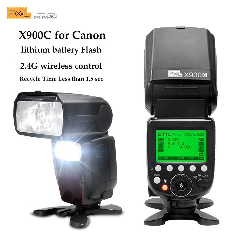 Pixel X900C E-TTL S1/S2 2.4G HSS 1/8000S Wireless Lithium Battery Flash Speedlite for Canon DSLR Cameras with LED Light LampPixel X900C E-TTL S1/S2 2.4G HSS 1/8000S Wireless Lithium Battery Flash Speedlite for Canon DSLR Cameras with LED Light Lamp