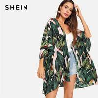 SHEIN Multicolor Giungla Tropicale Foglio di Stampa Del Manicotto Del Batwing Kimono 2019 Delle Donne Del Manicotto di Estate di Vacanza Con Palangari Camicette Spiaggia