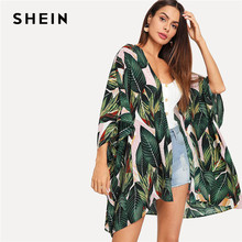 SHEIN Multicolor Tropical Jungle Leaf Print Batwing Sleeve Kimono 2019 Women Summer Sleeve Vacation Longline Beach Blouses(China)