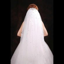 2016 New Arrival Cut Edge Soft Tulle With Rhinestone White Ivory Wedding Veils With Comb Crystal Bridal Veils Free shipping