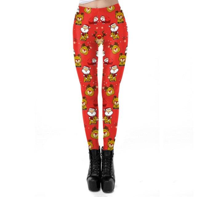 Christmas Santa Claus Deer 3D Printed Slim Fitness Leggings Women Leggins High Waist Push Up Legging Autumn Winter Leggins Mujer