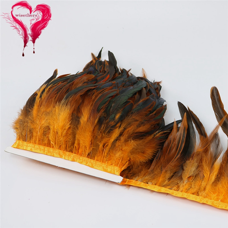 12 orange rooster feather trims 4