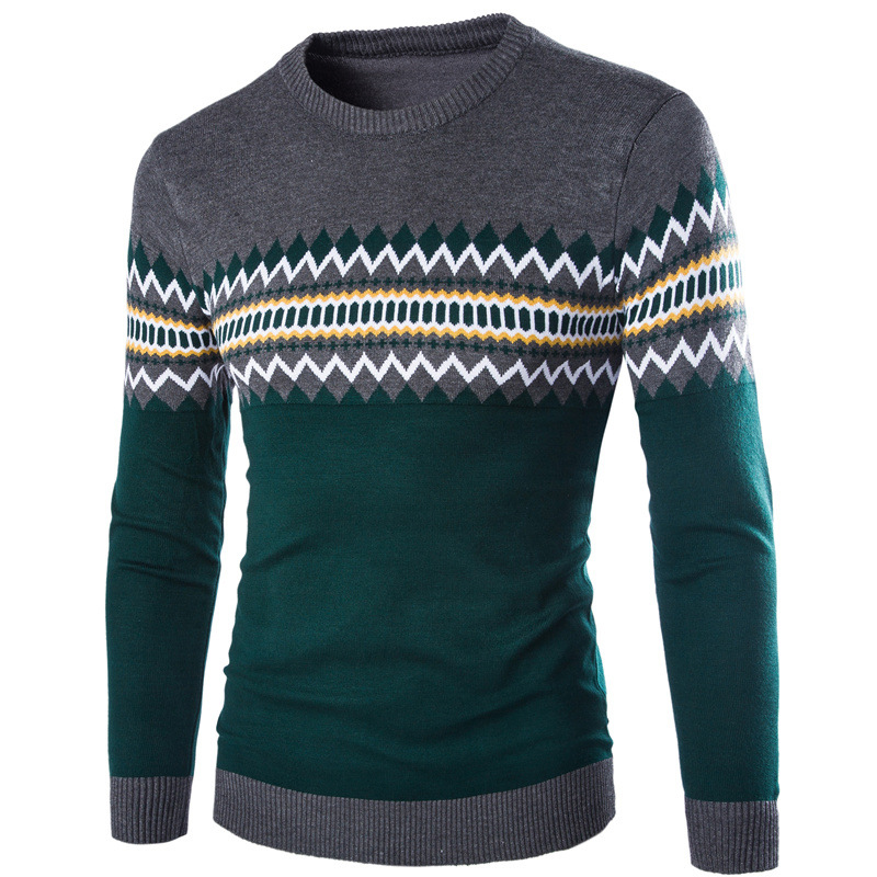 Men Sweater Pullovers Knitting O-Neck Long-Sleeve Winter Casual Fashion Warm Patchwork