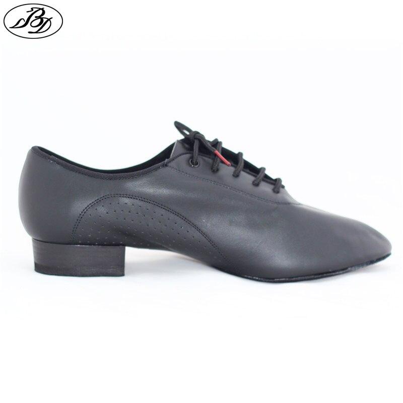 Men Standard Dance Shoe BD 309 Ballroom Dancing Shoe Soft Leather Dancesport Split Sole Modern Black