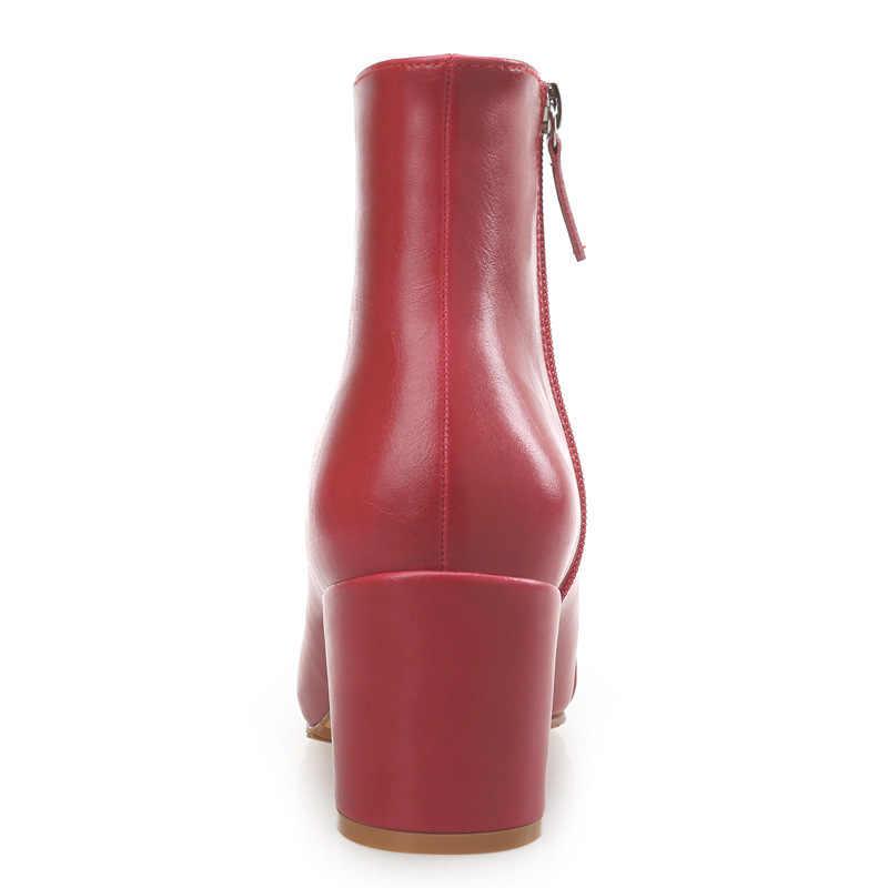 Nuevas botas de cuero genuino de Otoño Invierno para mujer botas de tobillo altas básicas para mujer zapatos