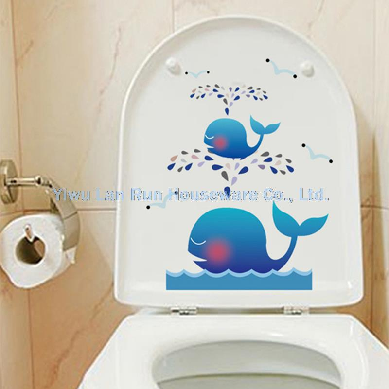 Cartoon Whale Toilet Stickers Wall Decorations Diy Vinyl Adesivos De