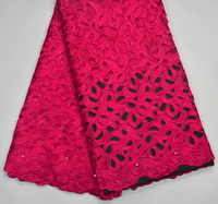 Latest 100%  High Quality Fushia African handcut Swiss Voile lace for Nigeria wedding lace fabrics 5 Yards Handcut Big lace