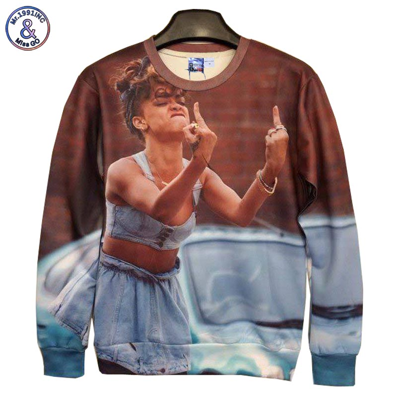 Mr.1991INC New Fashion Men/Women's 3D Hoodies Funny printed Erect middle fingers Rihanna 3d sweatshirts