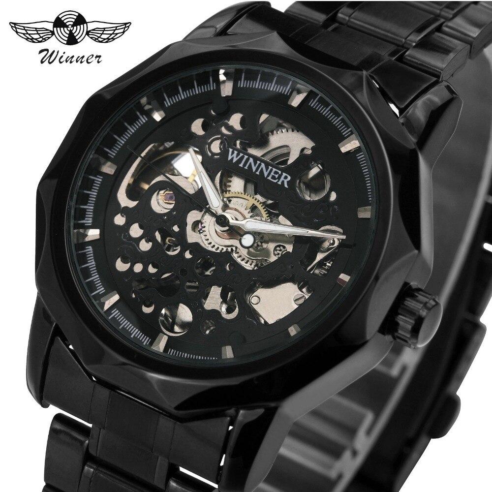 Mechanische Uhren Herrenuhren Box Streng 2018 Top-marke Luxus Gewinner Männer Automatische Mechanische Skeleton Uhr Edelstahlband Armbanduhr Für Männer Geschenk
