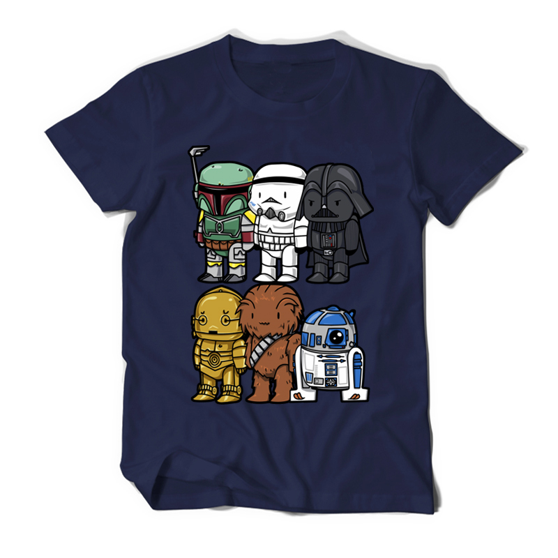 High Quality Man T Shirt Star Wars Cartoons Clothing Movie T-shirts Men Adult 100% Cotton Darth Vader Funny TShirts For TeenBoys