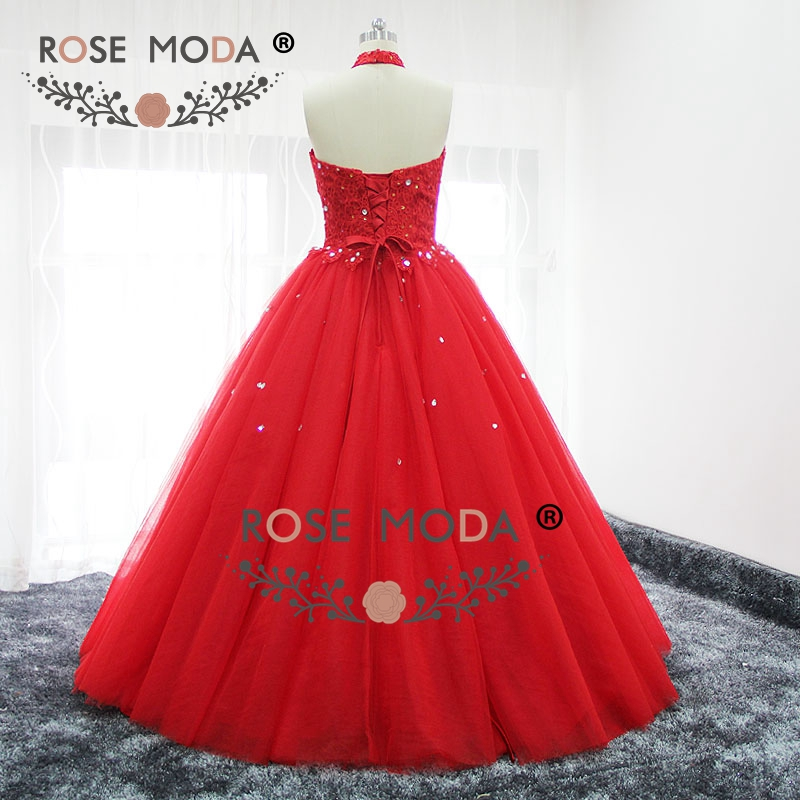 Rose moda red halter puffy prom dress bling kristall formale party dress lace up zurück real bilder - 3