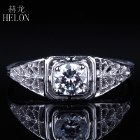 HELON 4.5mm Round 0.4ct Moissanites Ring Solid 14k White Gold Women's Antique Vintage Art style Engagement Wedding Jewelry Ring