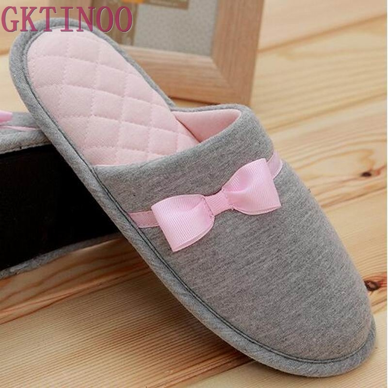 где купить Lovely Bowtie Winter Women Home Slippers For Indoor Bedroom House Soft Bottom Cotton Warm Shoes Adult Guests Flats S-16 по лучшей цене