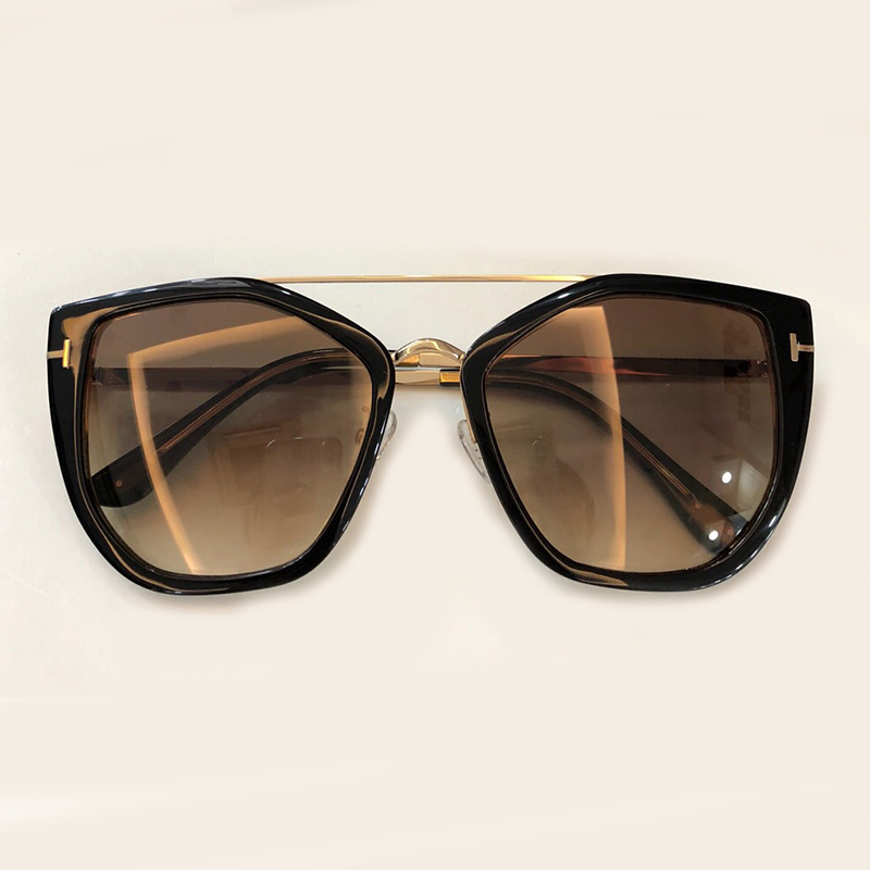 Cat Eye Women Sunglasses Brand Designer with Packing Box Oculos De Sol Feminino Vintage fashion Eyewear Double Bridge Shades