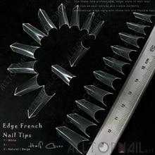 Puntas de uñas postizas de borde francés 100x Clear 'Edge' estilo de uñas artificiales de acrílico sin pozo-Envío Gratis