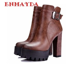 ENMAYDA Women Boots Punk Buckle Round Toe High Boots Square Heel Ankle Boots for Women  Platform Martin Boots Big Size 34-42