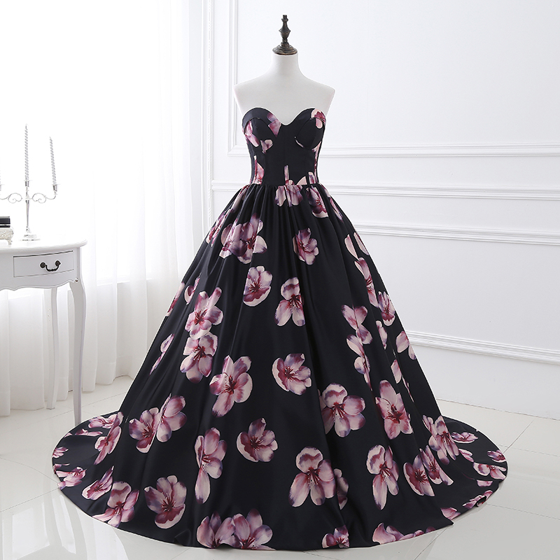 Floral Print Prom Dresses Ball Gown 2018 Long Princess Women Dresses Sweetheart  Neckline Sleeveless Party Dresses