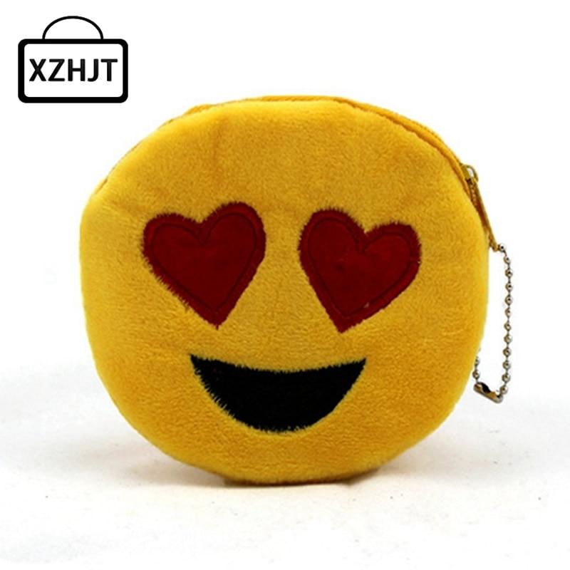 Cute Style Novelty Emoji Smile Zipper Plush Coin Purse Kawaii Children Bag Women Wallets Mini Change Pouch Bolsa